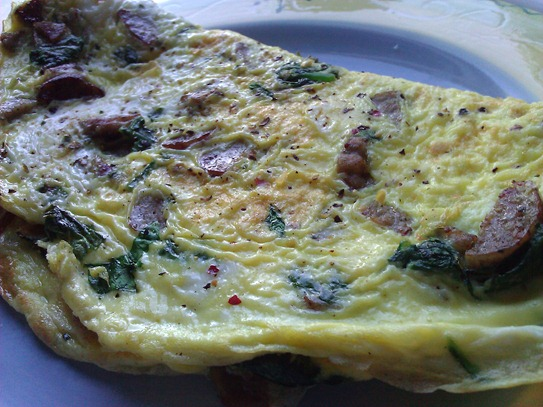 Sausage and spinach omelet; Fat Guy Weight Loss