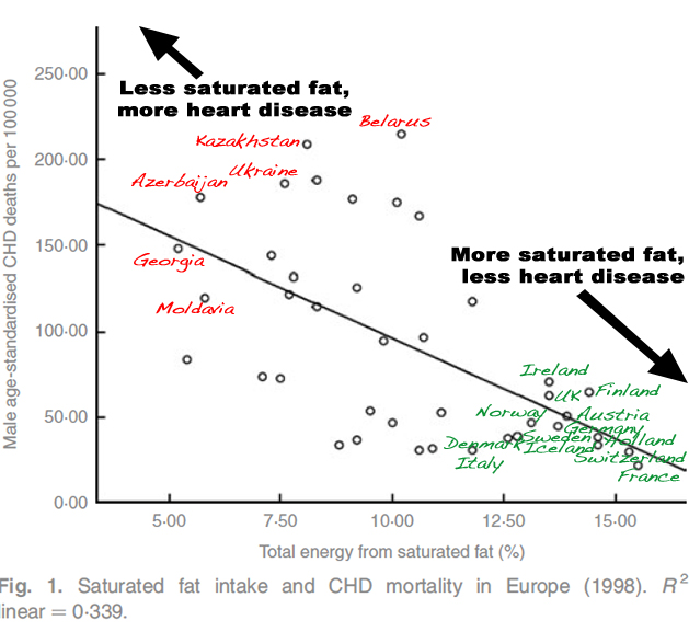 More saturated fat equals less heart disease